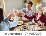 group of happy friends enjoying ... | Shutterstock . vector #744007207