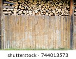 Stacked Firewood Heap In Barn....