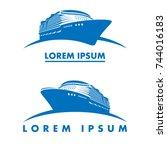 cruise ship logo template | Shutterstock .eps vector #744016183
