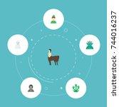 flat icons elf  mythology ... | Shutterstock .eps vector #744016237