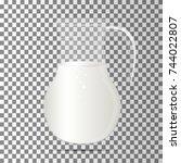 decanter with milk . vector... | Shutterstock .eps vector #744022807