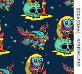 magic owl seamless pattern  old ...   Shutterstock .eps vector #744024103