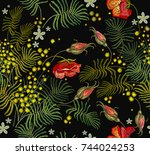 embroidery roses and mimosa... | Shutterstock .eps vector #744024253