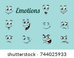 emotions characters collection... | Shutterstock . vector #744025933