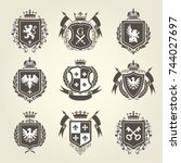 royal blazons and coat of arms  ... | Shutterstock .eps vector #744027697