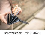 woman review her money on her... | Shutterstock . vector #744028693
