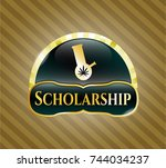 gold badge with bong of... | Shutterstock .eps vector #744034237