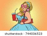 beautiful busty young woman... | Shutterstock . vector #744036523