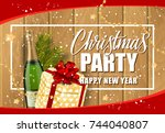 christmas party inscription and ... | Shutterstock .eps vector #744040807