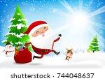 happy santa claus cartoon... | Shutterstock .eps vector #744048637
