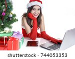 christmas concept   beautiful... | Shutterstock . vector #744053353