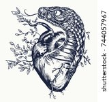 snake and heart tattoo. symbol... | Shutterstock .eps vector #744057967