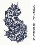 magic cat tattoo and t shirt... | Shutterstock .eps vector #744058603