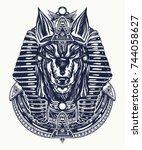 anubis tattoo and t shirt... | Shutterstock .eps vector #744058627