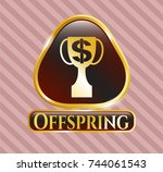 gold shiny badge with trophy... | Shutterstock .eps vector #744061543