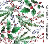 elegant winter seamless pattern ... | Shutterstock . vector #744062497