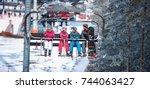 People Are Lifting On Ski Lift...