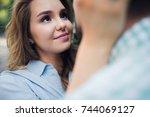 closeup shot of young couple... | Shutterstock . vector #744069127
