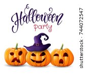 halloween background  pumpkins. ... | Shutterstock .eps vector #744072547