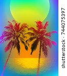 tropical sunset or tropical... | Shutterstock .eps vector #744075397