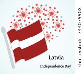 latvia. independence day.... | Shutterstock .eps vector #744079903