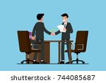two businessmen standing and... | Shutterstock .eps vector #744085687