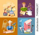 house repair. painter man work... | Shutterstock .eps vector #744086197