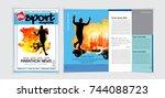 sport magazine cover vector...   Shutterstock .eps vector #744088723