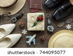 accessory men   women to travel ... | Shutterstock . vector #744095077