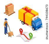 delivery cargo with map and... | Shutterstock . vector #744108673