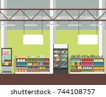 interior of a supermarket. view ... | Shutterstock .eps vector #744108757