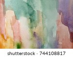 abstract watercolor painted... | Shutterstock . vector #744108817