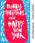 merry christmas and happy new... | Shutterstock .eps vector #744112003