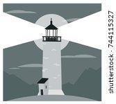 cartoon style flat lighthouse.... | Shutterstock .eps vector #744115327