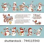 vector christmas snowmen...   Shutterstock .eps vector #744115543