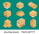 different box vector isometric... | Shutterstock .eps vector #744118777