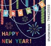happy new year  card with... | Shutterstock .eps vector #744125533