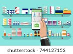 hand with smartphone with... | Shutterstock .eps vector #744127153