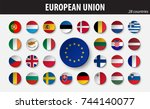 flags of european union and... | Shutterstock .eps vector #744140077