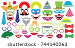 birthday party set. clown  hat  ... | Shutterstock .eps vector #744140263