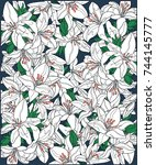 background of white blooming...   Shutterstock . vector #744145777