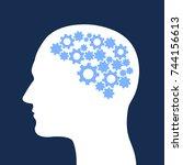 man with cogwheel inside his... | Shutterstock .eps vector #744156613