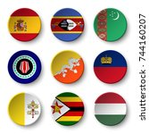 set of world flags round badges ... | Shutterstock .eps vector #744160207