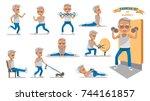 senior exercise of male.... | Shutterstock .eps vector #744161857