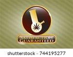 gold badge or emblem with bong ... | Shutterstock .eps vector #744195277