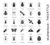 insects glyph icons set. bugs.... | Shutterstock .eps vector #744197713