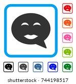 lady pleasure smiley message... | Shutterstock .eps vector #744198517