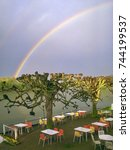rainbow at the seine shore in... | Shutterstock . vector #744199537