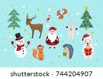 set of cartoon christmas... | Shutterstock .eps vector #744204907