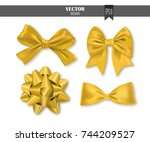 set of golden gift bows with... | Shutterstock .eps vector #744209527